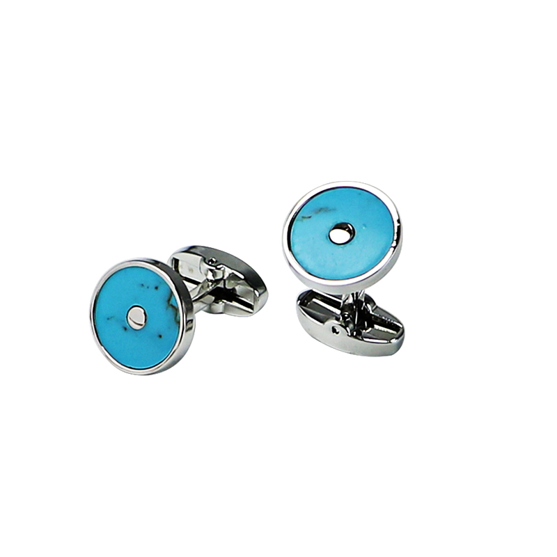 Turquoise Classic Round Cuff Links