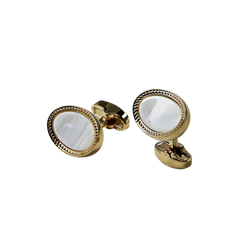 Shell Pearl Gold Plated Personalized Cuff Links