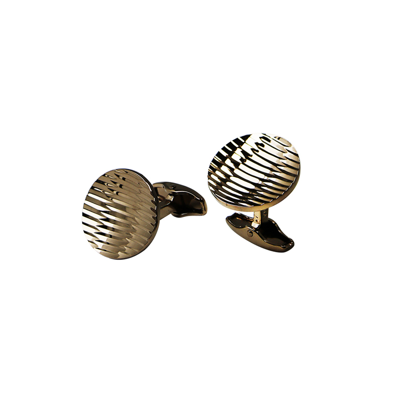 Rose Gold Plated Stripes Unique Cuff Links