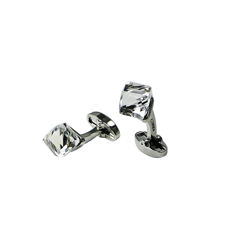 Crystal Silvertone Suit Cuff Links